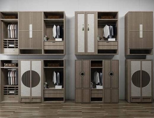 新中式衣柜组合, 衣柜组合, 衣柜
