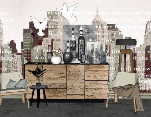 装饰柜架, 置物架, 柜架组合, 北欧, 玄关组合