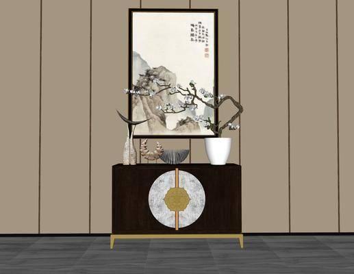装饰柜架, 置物架, 柜架组合, 摆件组合, 中式, 玄关柜