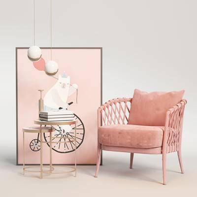 北欧单椅, 北欧边几, 边几组合, 单椅组合, 桌椅组合