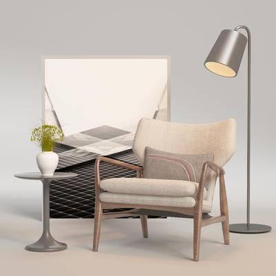 北欧单椅, 单椅, 边几组合, 桌椅组合