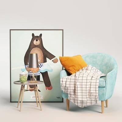 北欧单椅, 单椅, 边几组合, 单椅组合, 桌椅组合