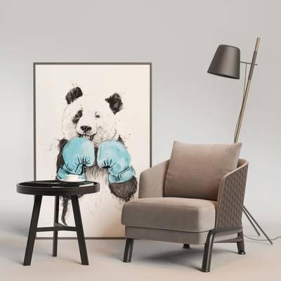 单椅, 边几组合, 桌椅组合, 单椅组合, 现代单椅