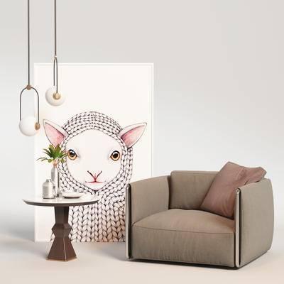 单椅, 边几组合, 单椅组合, 桌椅组合, 现代单椅