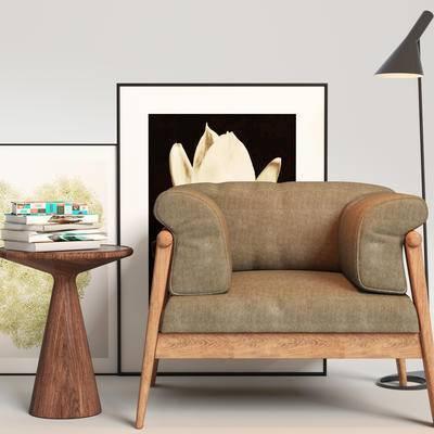 现代单椅, 单椅, 边几组合, 桌椅组合, 单椅组合