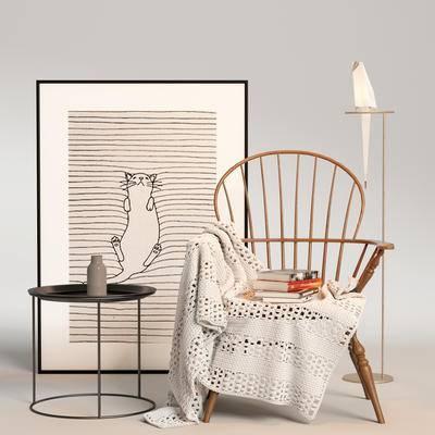 现代单椅, 单椅组合, 单椅, 边几组合, 桌椅组合