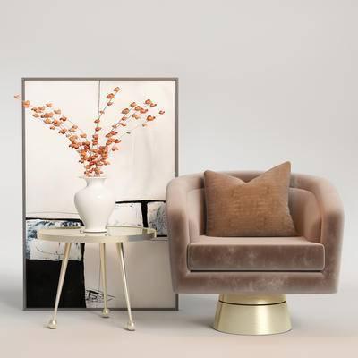 现代单椅, 单椅组合, 边几组合, 单椅, 桌椅组合