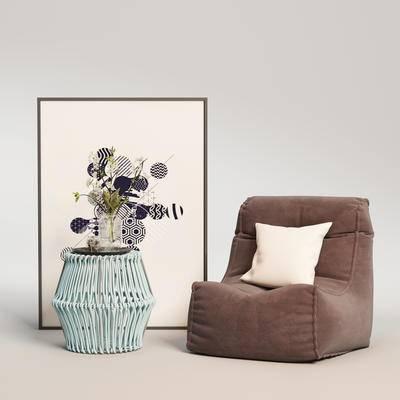 现代单椅, 单椅, 边几组合, 单椅组合, 桌椅组合
