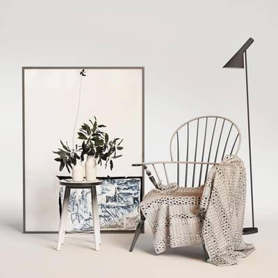 现代单椅, 单椅, 桌椅组合, 单椅组合, 边几组合