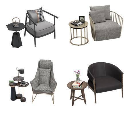 现代, 单椅, 边几组合, 茶几组合