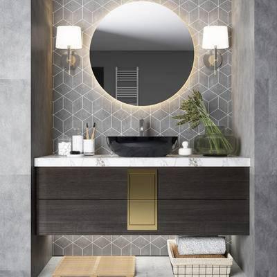 现代, 卫浴柜组合, 摆件组合
