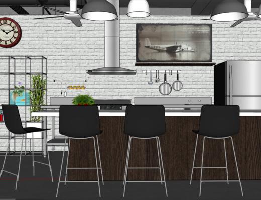 厨房, 工业风, 单椅, 吊灯, 灶台