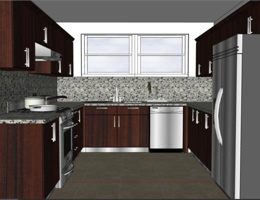 厨房, 美式, 橱柜, 灶台