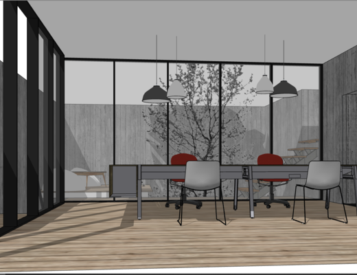 现代, 办公室, 桌椅组合, 吊灯