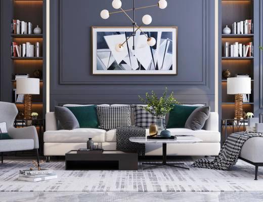 沙发组合, 茶几, 装饰画, 吊灯, 单椅, 装饰柜