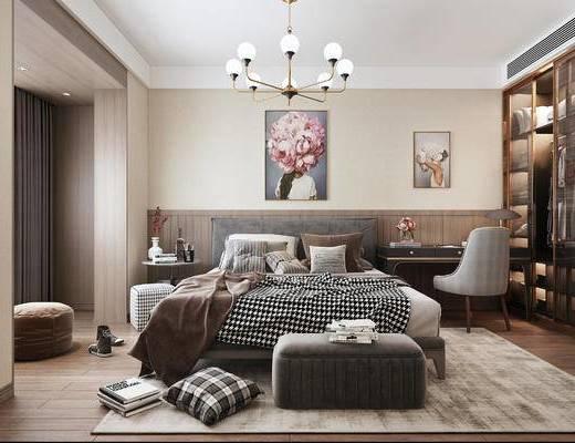 双人床, 床具组合, 桌椅组合, 衣柜, 装饰画, 吊灯