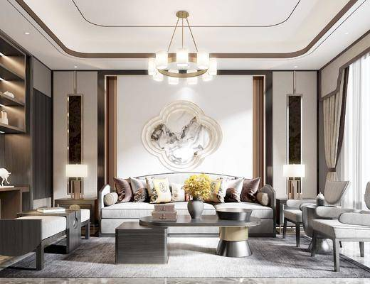 沙发组合, 茶几, 单椅, 背景墙, 装饰柜, 吊灯
