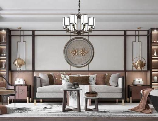 沙发组合, 茶几, 墙饰, 吊灯, 装饰柜, 单椅