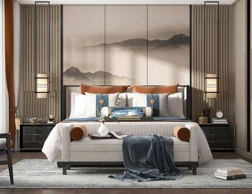 双人床, 床具组合, 背景图, 单椅, 吊灯