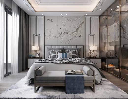 双人床, 床具组合, 衣柜, 背景墙