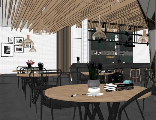 奶茶店, 挂画, 桌椅组合, 酒架, 吊灯