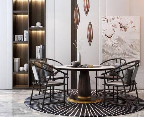 新中式餐桌椅组合, 餐桌椅组合, 桌椅组合