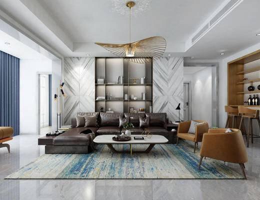 现代简约客厅, 客厅, 沙发组合