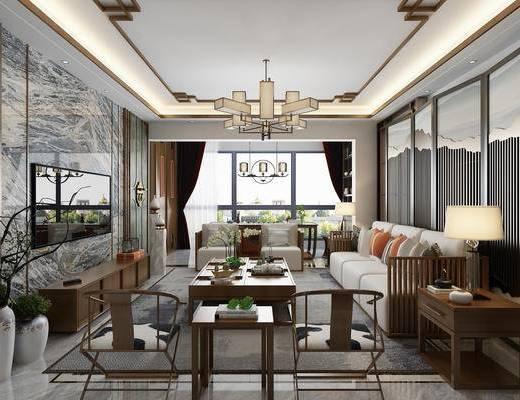 新中式客餐廳, 客餐廳, 沙發組合