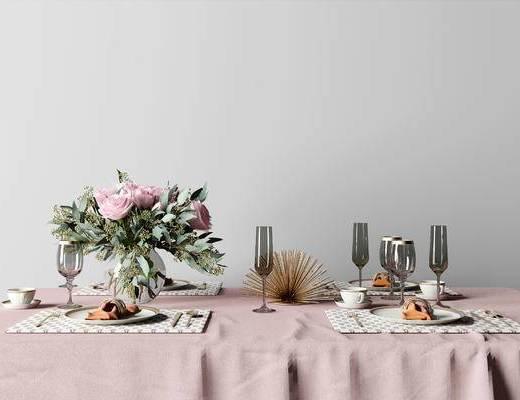 现代轻奢餐具组合, 现代餐具组合, 餐具组合