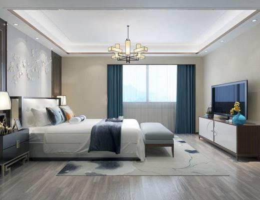 现代卧室, 新中式卧室, 卧室, 双人床
