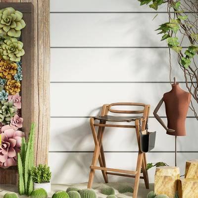 北欧单椅, 单椅, 盆栽组合