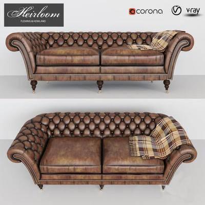 美式双人沙发, 沙发, 古典沙发, 双人沙发