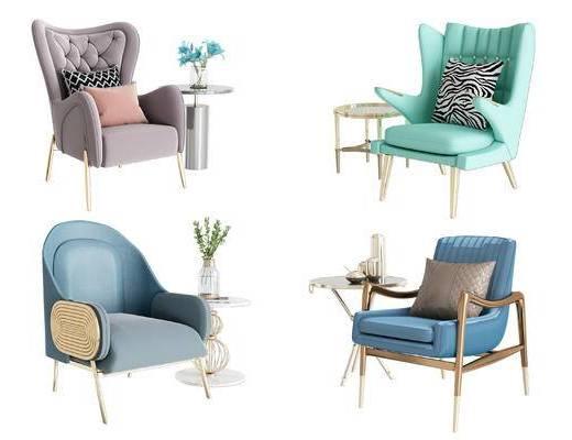后现代, 桌椅组合, 单椅, 边几组合