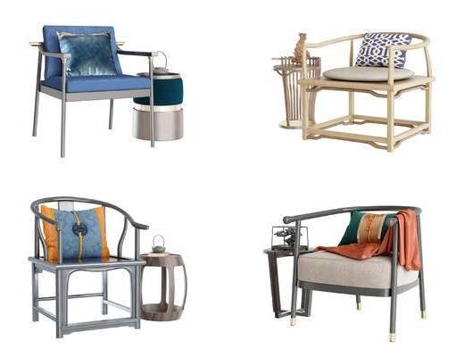 新中式, 单椅, 边几组合, 桌椅组合