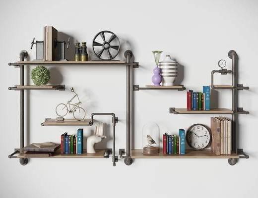 现代置物架, 工业风置物架, 置物架, 装饰柜架