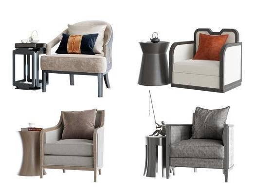 新中式, 桌椅组合, 单椅, 沙发组合