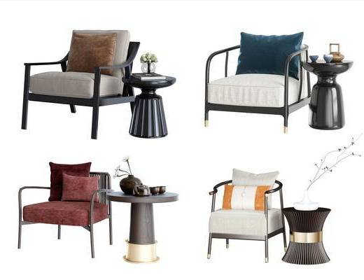 新中式, 单椅, 边几组合