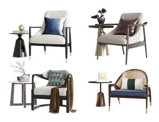 新中式, 单椅, 边几组合, 单椅组合