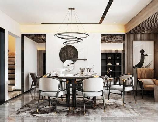 餐厅, 桌椅组合, 墙饰, 单椅, 吊灯