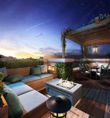 阳台, 露台, 沙发组合, 茶几, 桌椅组合