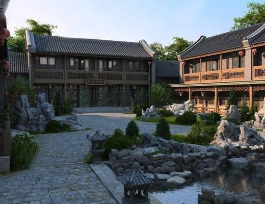 建筑, 外观, 水池假山