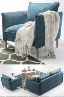 北欧沙发, 沙发组合, 茶几, 沙发