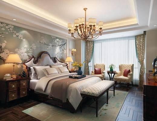 美式卧室, 卧室, 双人床