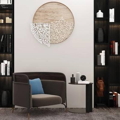 现代, 单人沙发, 墙饰组合
