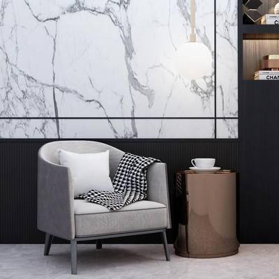 现代, 单人沙发, 茶几组合