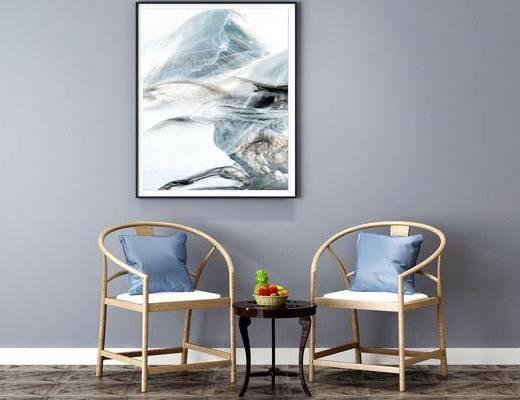 单椅, 茶几组合, 挂画, 装饰画
