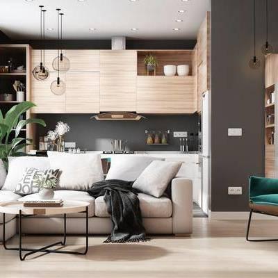 客厅, 餐厅, 现代客餐厅, 沙发组合, 茶几, 多人沙发, 单椅椅子, 植物, 盆栽, 摆件, 装饰品, 餐桌, 单椅, 椅子, 餐具, 橱柜, 厨具, 吊灯, 现代
