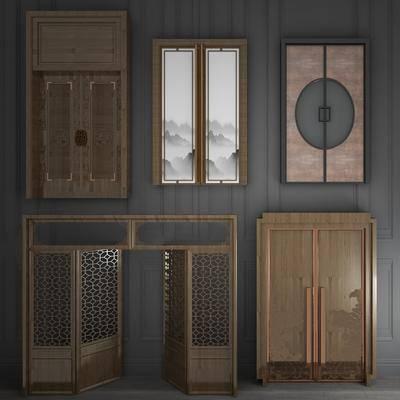 实木雕花, 双开门, 推拉门, 移门组合, 新中式