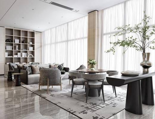 售楼处, 沙发组合, 植物, 单椅