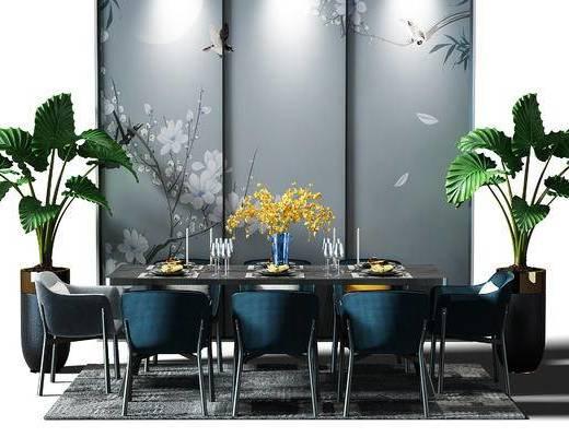 餐桌, 桌椅组合, 桌椅, 盆景, 植物, 餐桌椅, 现代, 新中式, 中式